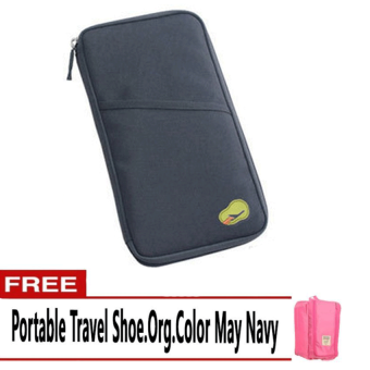 Harga Travelus Long Passport Holder (Navy Blue) with Free Portable Travel Shoe (Color May Vary)
