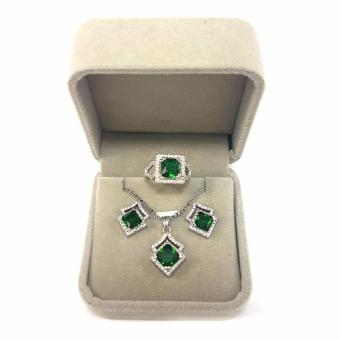 Jewelmine Arrow Emerald Cubic Zircon Jewelry Set ( white gold) Price Philippines