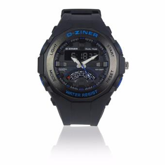 Harga D-ZINER DZ-8176 Resin Dual Time Unisex Sports Analog Digital Watch WR10BAR