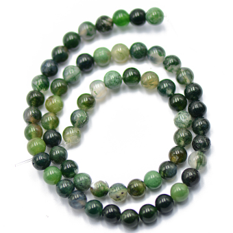 6mm Nature Green Moss Agate Gemstone Loose Spacer Beads 15'' Round Price Philippines