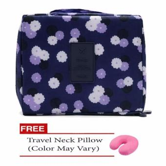 Harga Monopoly Portable Waterproof Multi-Pouch Travel Toiletry Cosmetic Bag (Navy Blue Floral) with Free Travel Neck Pillow (Design May Vary)