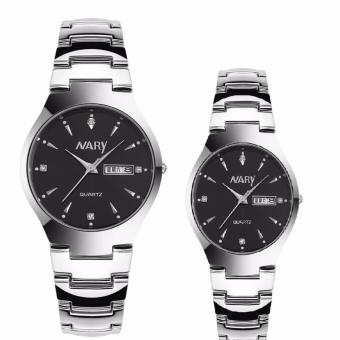 Harga Nary Stainless Steel Strap Couple Watch NR6112-2 (Silver/Black)