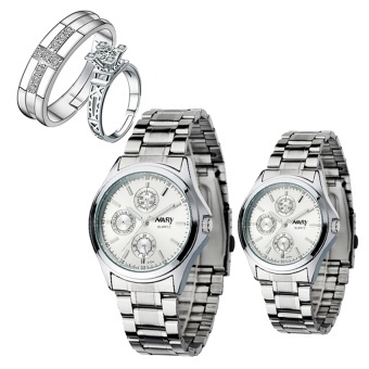 Harga NARY Couple's Digital White Stainless Steel Quartz Watch With PY-1 Opened Couple Rings