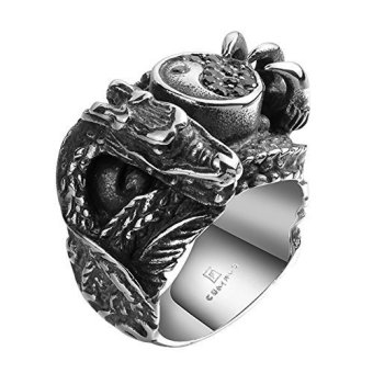 Vintage Stainless Steel Gothic Dragon Yin Yang Tai Chi Biker Mens Ring- INTL Price Philippines