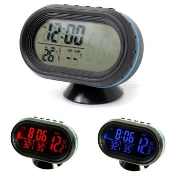 Harga 12-24V Digital Auto LCD Display Backlight Temperature Thermometer Car Voltmeter Digital Tester Monitor Meter Voltage Alarm Clock - intl