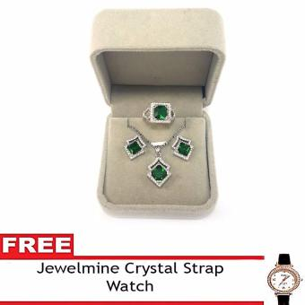 Jewelmine Arrow Emerald Cubic Zircon Jewelry Set with free Crystal Leather Strap Watch ( white gold) Price Philippines