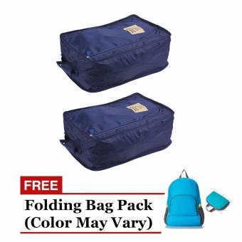Harga Foldable Travel Shoe Organizer (Navy Blue) Set of 2 with Free Folding Bag Pack (Color May Vary)