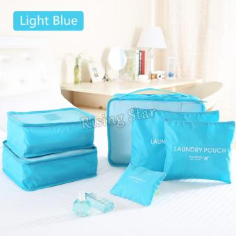Harga Rising Star Waterproof Clothes Storage Travel Luggage Organizer Pouch Set of 6 (Light Blue)