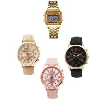 Harga Geneva Women's Roman Leather Strap Watch Pink/Beige/Black with FREE Landfox Women's Gold Stainless Steel Strap Watch
