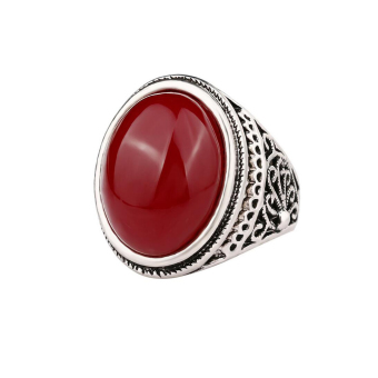 MagiDeal Red Oval Gemstone Metal Alloy Engraved Silver Ring Mens Sz 8 - intl Price Philippines