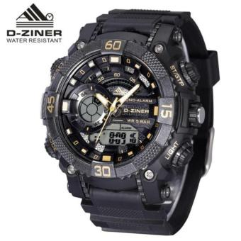 Harga D-ZINER DZ-8168 BLACK RESIN DUAL TIME MEN'S SPORTS ANALOG DIGITAL WATCH (GOLD/BLACK)