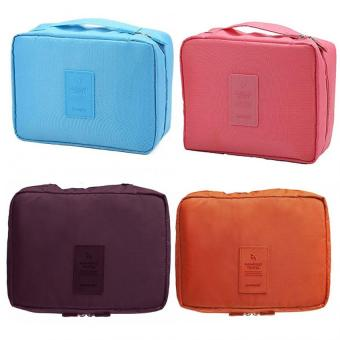Portable Waterproof Multi-Pouch Travel Toiletry Cosmetic Bag Set Of 4 (Sky Blue,Pink,Orange,Maroon) Price Philippines