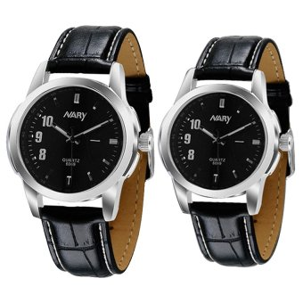 Harga NARY 6069 Couple's Leather Strap Wristwatch (Black)