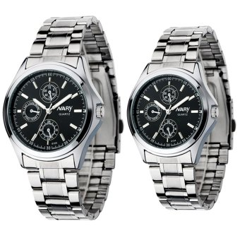 Harga NARY Couple's Digital Stainless Steel Quartz Watch C-NR-6104-Black Steel