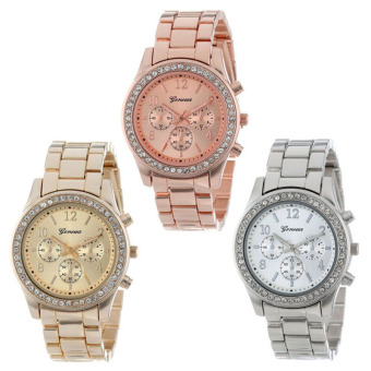Harga 3 PACK Geneva Silver Gold and Rose Gold Plated Classic Round Ladies Watch