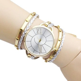 Harga Big Dial Bracelet Hand Woven Ladies Watch Gold - intl
