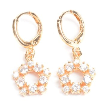 Harga Piedras jewelry Cubic Zirconia 18k plating Dangling Earrings (Yellow Gold)