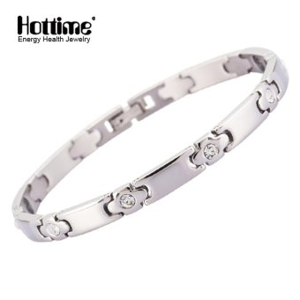 Hottime Fashion Lady Health Bracelets & Bangles Magnetic Power Stainless Steel Charm Bracelet Crystal Jewelry For Women 10139 - intl Price Philippines