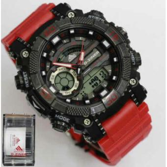 Harga D-ZINER DZ-8168 BLACK RESIN DUAL TIME MEN'S SPORTS ANALOG DIGITAL WATCH (RED/BLACK)
