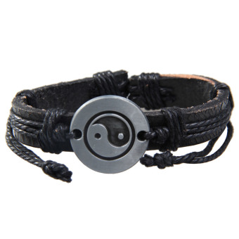 Tai Chi Wrap Multilayer Leather Bracelet with Braided Rope Fashion Jewelry Price Philippines