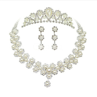 Harga Rich Long Silver Plated Crystal Necklace & Earrings &Crown Jewelry Sets For Women's Vintage Wedding Party - Intl