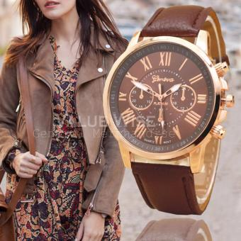 Geneva Women's Roman Leather Strap Watch (Brown) Price Philippines
