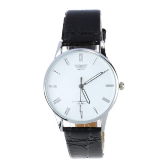 Harga Men's Roman Number Quartz Electronic Leather Wrist Watch  White
