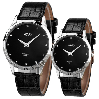 Harga NARY 6101 Couple Leather Strap Watch(Black )