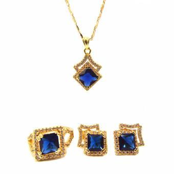 Jewelmine Arrow Blue Sapphire Cubic Zircon Jewelry Set (gold) Price Philippines