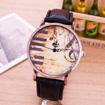 Harga Retro Unisex Quartz Watch Trendy Women Fashion Piano Music Symbol Watch - intl