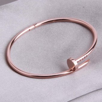 Harga LALANG No Drill Rose Gold Bracelet Couple Love Models Oval High Polish Bracelet (Rose Gold)