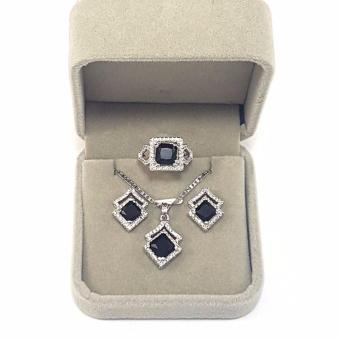 Jewelmine Arrow Onyx Cubic Zircon Jewelry Set (white gold) Price Philippines