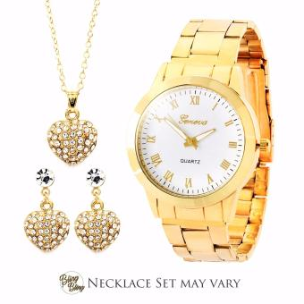 Bling Bling Necklace Set with Geneva Audrey Women's Stainless Steel Watch (Gold/White) Price Philippines