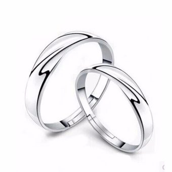 Hequ 1 Pairs Men Women Solid Silver Lover Couple Rings Wedding Band His and Her Promise Rings - intl Price Philippines