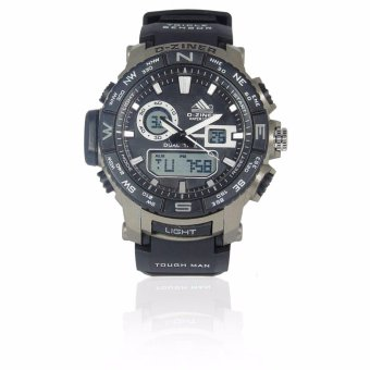 Harga D-ZINER DZ-8140 Black Resin Dual Time Men's Sports Analog Digital Watch WR10BAR