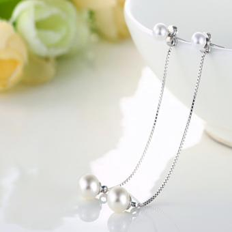 Harga Rising Star Korean version of temperament fashion 925 silver tassel long pearl earrings jewelry EH056