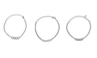 Patrick Lovebird Curb Chain Bracelet Set of 3 (Silver) Price Philippines