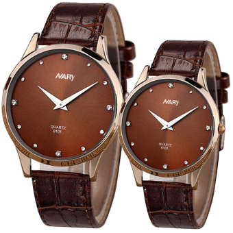 Harga NARY Couple Brown Leather Strap Watch 6101