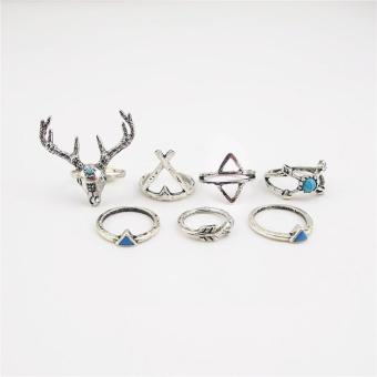BUYINCOINS 7Pcs/Set Bohemian Sliver Knuckle Turquoise Deer Fawn Geometry Arrow Midi Ring - intl Price Philippines