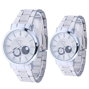 Harga NARY Luxury Lovers' Couple Stainless Steel Quartz Wristwatch C-NR-6053-White