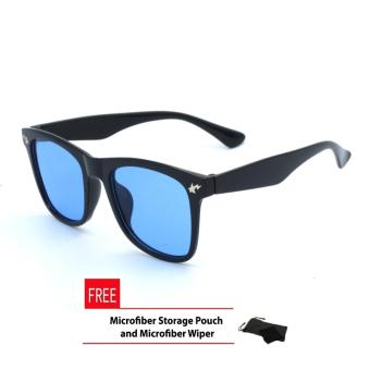 Harga Wayfarer Rising Star Classic Squire Star Black Sunglasses Frame Light Blue Transparent Flash Lens