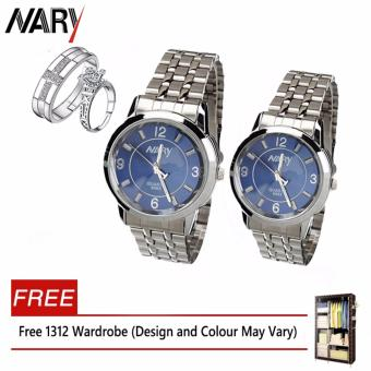 Harga NARY 6063 Couple Blue/Silver Stainless Steel Strap Watch + PY-1 Adjustable Fashion Lovers Rings with Free 1312 Wardrobe (Design and Colour May Vary)