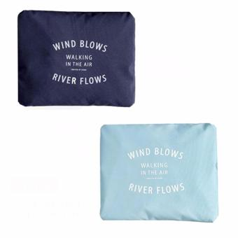 Wind Blows Folding Carry Bag (Navy Blue,Light Blue) Set Of 2 Price Philippines