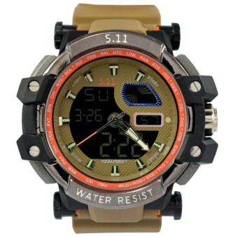 Harga SportsWatch 5.11 Tactical Series H.R.T Titanium Military Watch Brown Rubber Strap (#039)