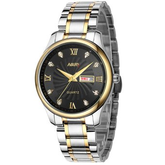 Harga NARY 6126 Men Fashion Steel Strap Wristwatch (Black)