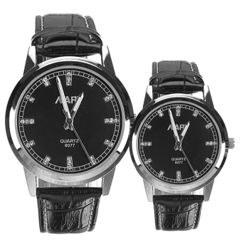 Harga NARY Couple Black Leather Strap Watch 6077