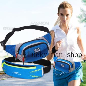 Harga Resistant Waist Bag Fanny Pack Bum Bag for Man Women Sports Travel Running Hiking BLUE