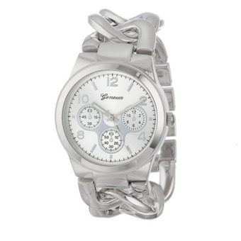 Harga Fashion Stylish Womens Watch Stainless Steel Band Quartz Wristwatch (Silver)
