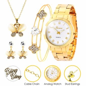Bling Bling Necklace Set and Bangle with Geneva Audrey Women's Stainless Steel Watch (Gold/White) Price Philippines