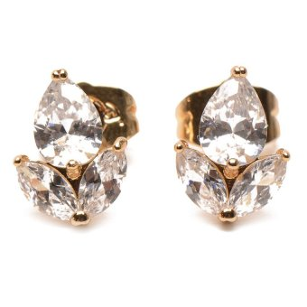 Jewelrista Leaf Stone Stud Earrings (Rose Gold) Price Philippines